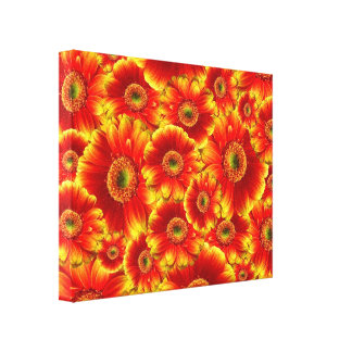 Yellow and Orange Gerbera Daisies Gallery Wrap Canvas