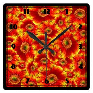 Yellow and Orange Gerbera Daisies Wall Clock