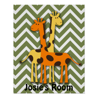 Yellow and Orange Giraffe on Green Chevron Poster