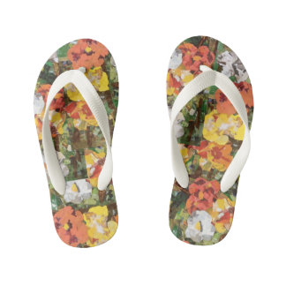 """Yellow and orange paper flowers"" Girls Flip Flops Thongs"
