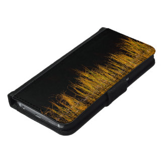 Yellow and orange reed in black water samsung galaxy s6 wallet case