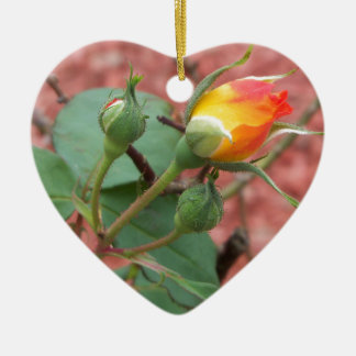 yellow and orange rose bud ceramic ornament