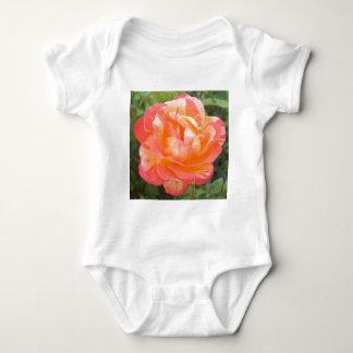 Yellow and Orange Striped Rose Baby Bodysuit