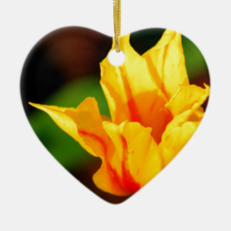 Yellow and Orange Tulip Double-Sided Heart Ceramic Christmas Ornament