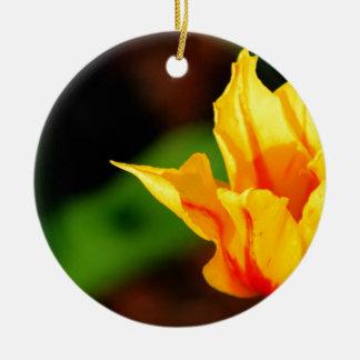 Yellow and Orange Tulip Round Ceramic Decoration