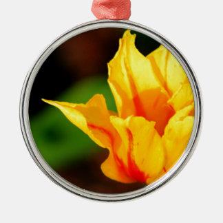 Yellow and Orange Tulip Silver-Colored Round Decoration