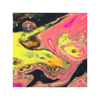 Yellow and Pink Acrylic Pour Art Canvas Print