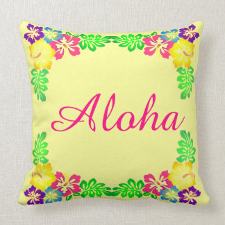 Yellow and Pink  | Aloha Colorful Hibiscus Flowers Throw Pillow