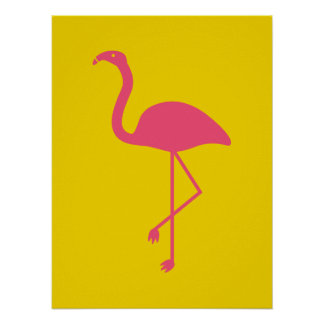 Yellow And Pink Flamingo Silhouette Poster
