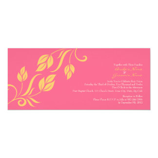 Yellow and Pink Floral Leaves Wedding Invitation