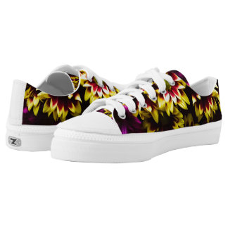 Yellow And Pink Floral Print Low Tops