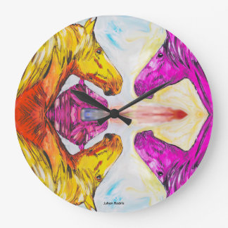 Yellow And Pink Horse Clocks