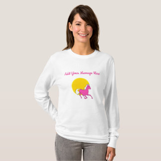 Yellow and Pink Horse Ladies Long Sleeved Shirt