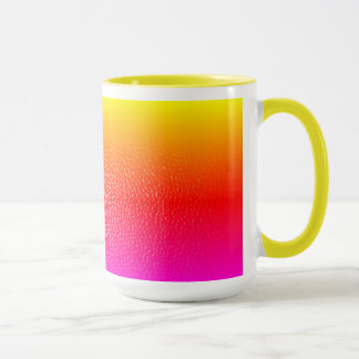 yellow and pink leather print mug