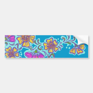 Yellow and Pink Mehndi Flowers Bumper Sticker