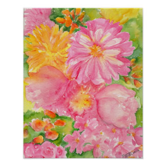 Yellow and Pink Peonies Bouquet Poster