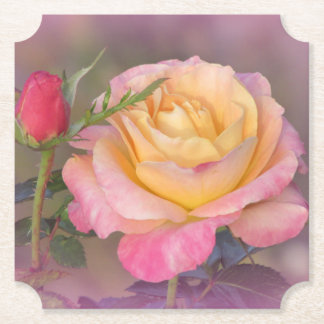 Yellow and Pink Roses Paper Coaster