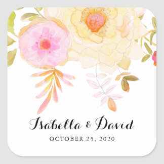 Yellow and Pink Watercolor Flowers Wedding Sticker