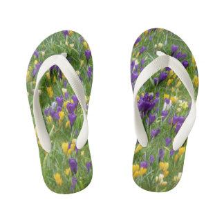 Yellow and Purple Crocuses Kids Flip Flops
