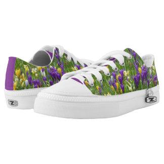 Yellow and Purple Crocuses Zipz Low Top Shoes
