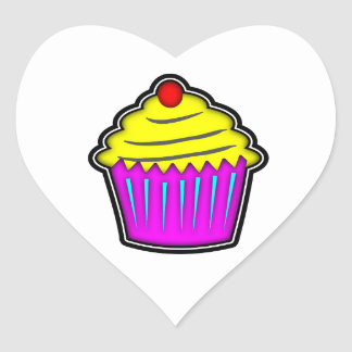 Yellow and Purple Cupcake with Cherry On Top Heart Sticker