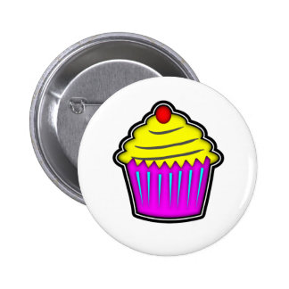 Yellow and Purple Cupcake with Cherry On Top Pins