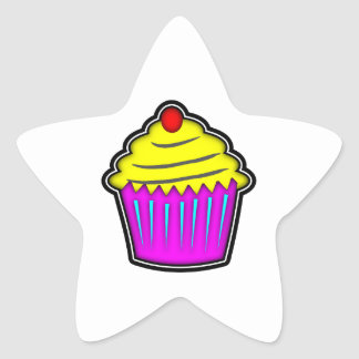 Yellow and Purple Cupcake with Cherry On Top Star Sticker