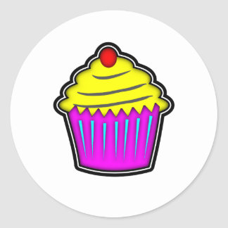 Yellow and Purple Cupcake with Cherry On Top Round Sticker