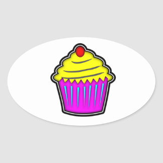Yellow and Purple Cupcake with Cherry On Top Oval Sticker