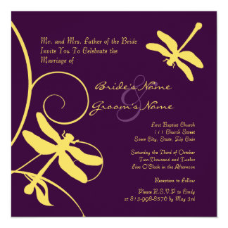 Yellow and Purple Dragonfly Wedding Invitation