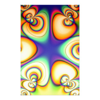 Yellow And Purple fractal Stationery Paper