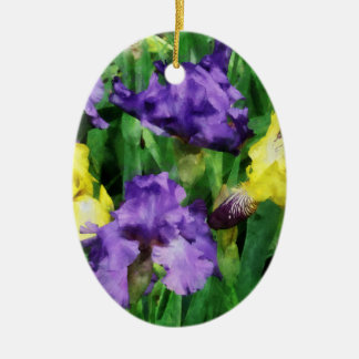 Yellow and Purple Irises Christmas Ornaments