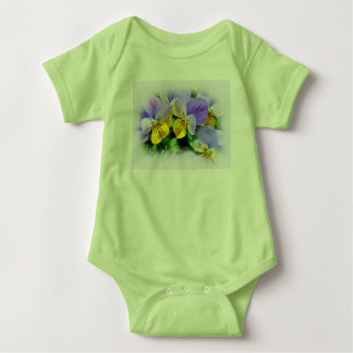 Yellow and Purple Pansies Baby Bodysuit