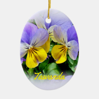 Yellow and Purple Pansies Ceramic Ornament