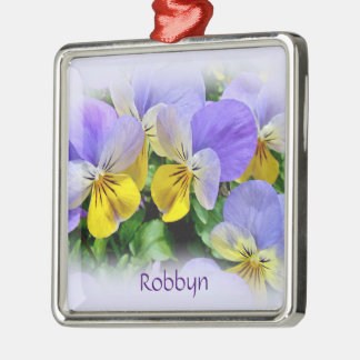 Yellow and Purple Pansies Metal Ornament