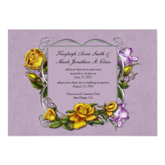 Yellow and Purple Roses Post Wedding Celebration Card