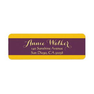 Yellow And Purple Sripes Return Address Label