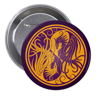 Yellow and Purple Yin Yang Phoenix Button