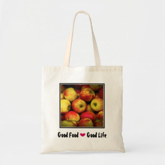 Yellow and Red Apples Good Food Good Life Budget Tote Bag