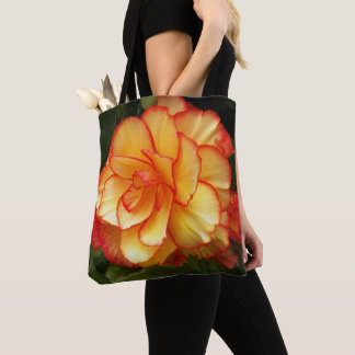 Yellow and Red Begonia Floral Tote Bag