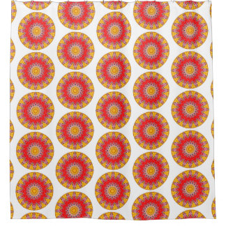 Yellow and Red Boho Round Mandala (Lg Print) Shower Curtain
