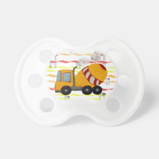 Yellow and red concrete mixer baby pacifier