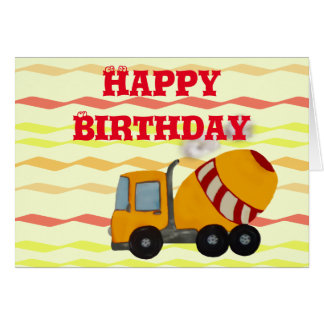 Yellow and red concrete mixer card
