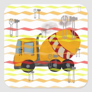 Yellow and red concrete mixer square sticker