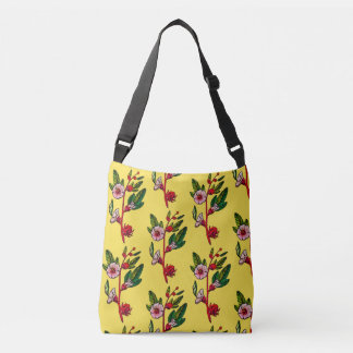 Yellow And Red Flower Sprigs Floral Crossbody Bag