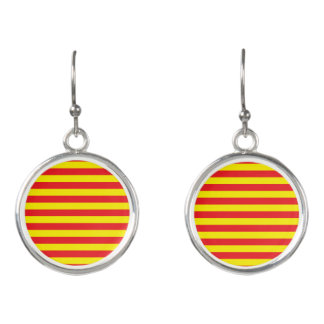 Yellow and Red Horizontal Stripes Earrings