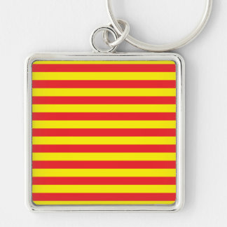 Yellow and Red Horizontal Stripes Key Ring