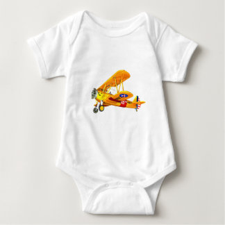 Yellow and Red Military Training Biplane Flying Baby Bodysuit