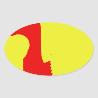 yellow and red mixing together gather abstract art oval stickers