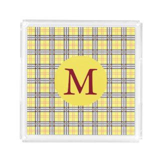 Yellow and Red Plaid Tartan Pattern Monogram Acrylic Tray